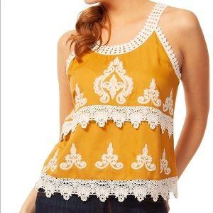 DEX | Mustard Yellow Crochet Lace Tank Blouse M